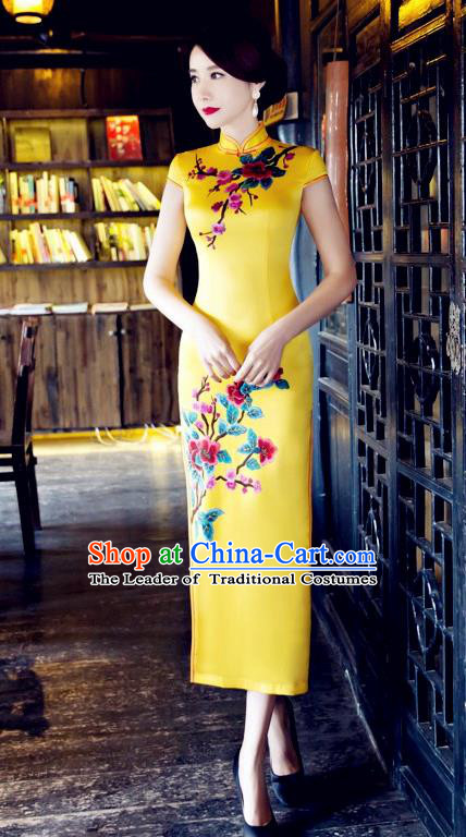 Traditional Top Grade Chinese Elegant Printing Yellow Cheongsam China Tang Suit Qipao Dress for Women