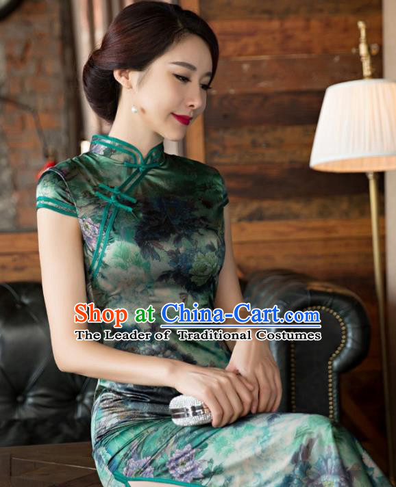 Traditional Top Grade Chinese Elegant Printing Cheongsam China Tang Suit Green Qipao Dress for Women