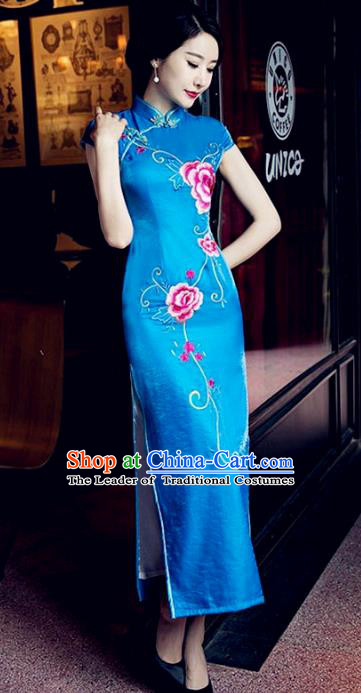Traditional Top Grade Chinese Elegant Printing Peony Blue Cheongsam China Tang Suit Qipao Dress for Women