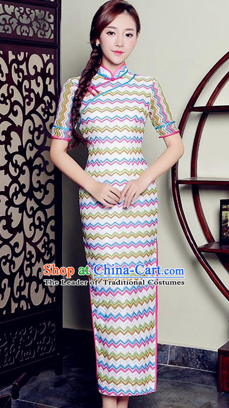 Traditional Top Grade Chinese Elegant Cheongsam China Tang Suit Qipao Dress for Women