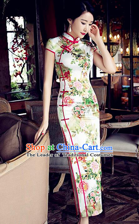 Traditional Chinese Elegant Cheongsam China Tang Suit Printing Peony Qipao Dress for Women