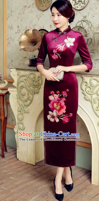Traditional Chinese Elegant Printing Purple Velvet Cheongsam China Tang Suit Qipao Dress for Women