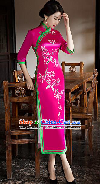 Traditional Chinese Elegant Printing Rosy Silk Cheongsam China Tang Suit Qipao Dress for Women