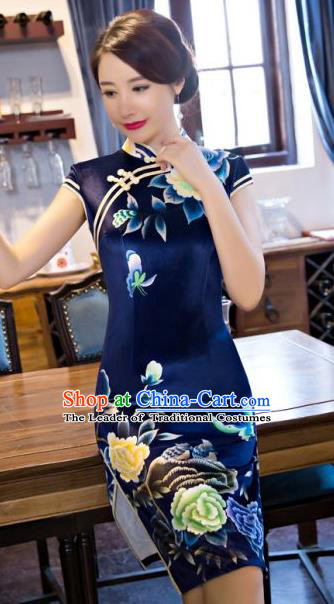 Chinese Traditional Costume Elegant Printing Peony Navy Silk Cheongsam China Tang Suit Qipao Dress for Women