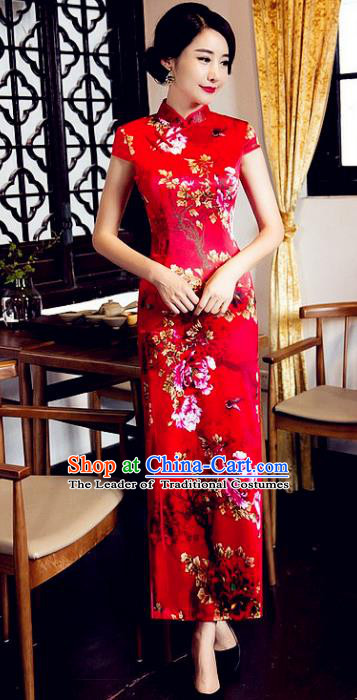 Chinese Traditional Costume Elegant Cheongsam China Tang Suit Printing Peony Butterfly Red Qipao Dress for Women