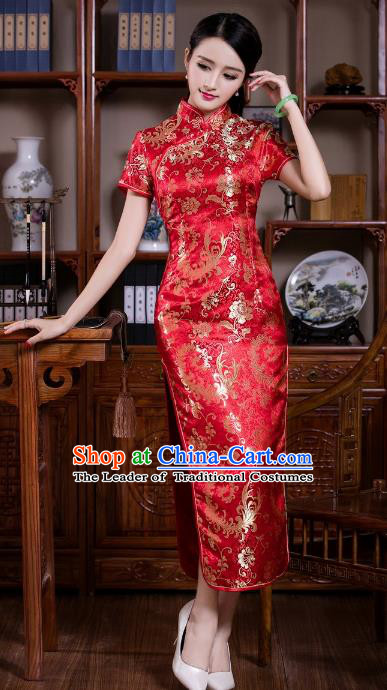 487bb365 Chinese Traditional Costume Graceful Ombre Flowers Cheongsam China Tang  Suit Red Brocade Qipao Dress for Women