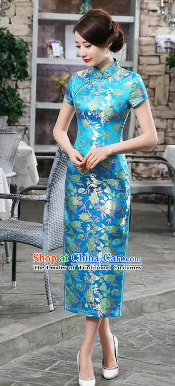 Chinese Traditional Costume Cheongsam China Tang Suit Blue Brocade Qipao Dress for Women