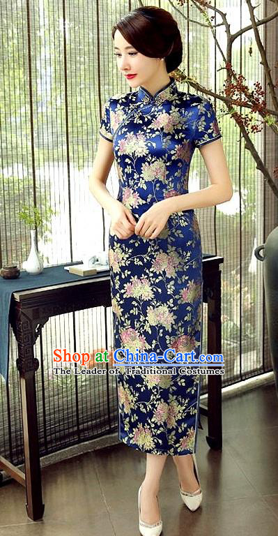 Chinese Traditional Costume Cheongsam China Tang Suit Deep Blue Brocade Qipao Dress for Women