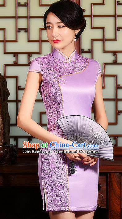 Chinese Traditional Costume Cheongsam China Tang Suit Lilac Lace Qipao Dress for Women