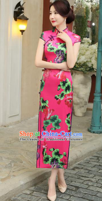 Chinese Traditional Costume Printing Lotus Rosy Cheongsam China Tang Suit Silk Qipao Dress for Women