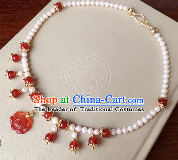 Traditional Handmade Chinese Ancient Classical Accessories Red Lotus Necklace Pearls Necklet for Women