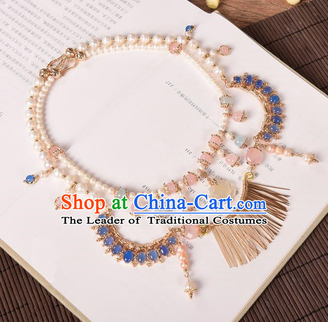 Traditional Handmade Chinese Ancient Classical Accessories Tassel Necklace Pearls Necklet for Women