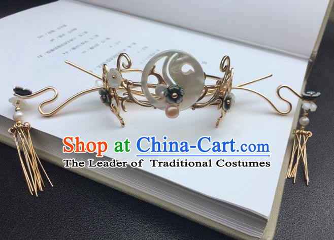 Traditional Handmade Chinese Ancient Classical Hair Accessories Jade Hairdo Crown Tassel Hairpins for Women