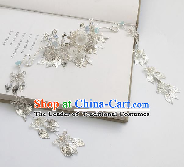 Traditional Handmade Chinese Ancient Hairdo Crown Classical Hair Accessories Tassel Hairpins for Women