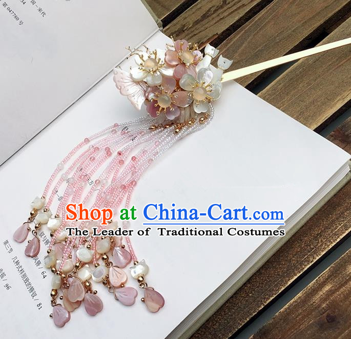 Traditional Handmade Chinese Ancient Classical Hair Accessories Flowers Butterfly Tassel Hairpins for Women