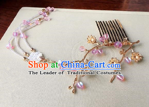 Traditional Handmade Chinese Ancient Classical Hair Accessories Pink Beads Tassel Hair Comb Hairpins for Women