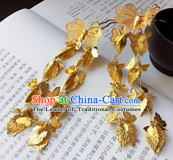 Traditional Handmade Chinese Ancient Classical Hair Accessories Golden Butterfly Tassel Hairpins for Women