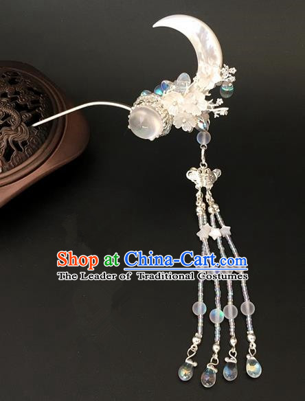 Traditional Handmade Chinese Ancient Classical Hair Accessories Moon Tassel Hairpins for Women