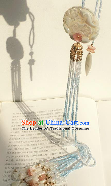 Traditional Handmade Chinese Ancient Classical Accessories Hanfu Tassel Jade Pendant for Women