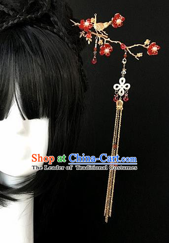 Traditional Handmade Chinese Ancient Classical Hair Accessories Hairpins Red Flowers Tassel Hair Clips for Women