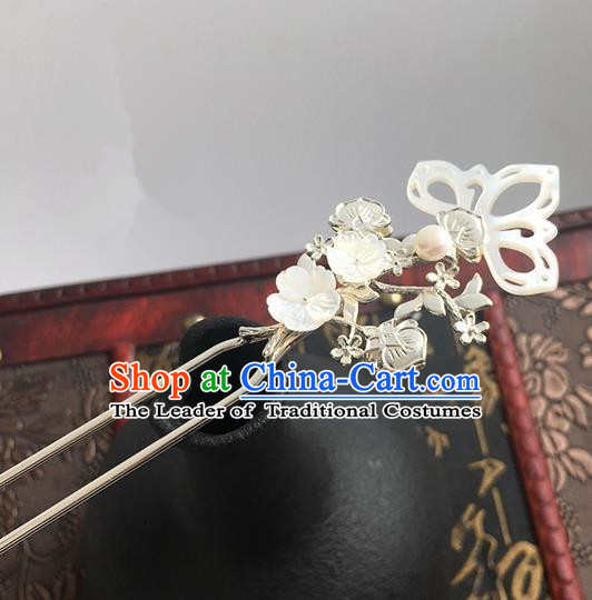 Traditional Handmade Chinese Ancient Classical Hair Accessories Hairpins Shell Lotus Hair Stick for Women