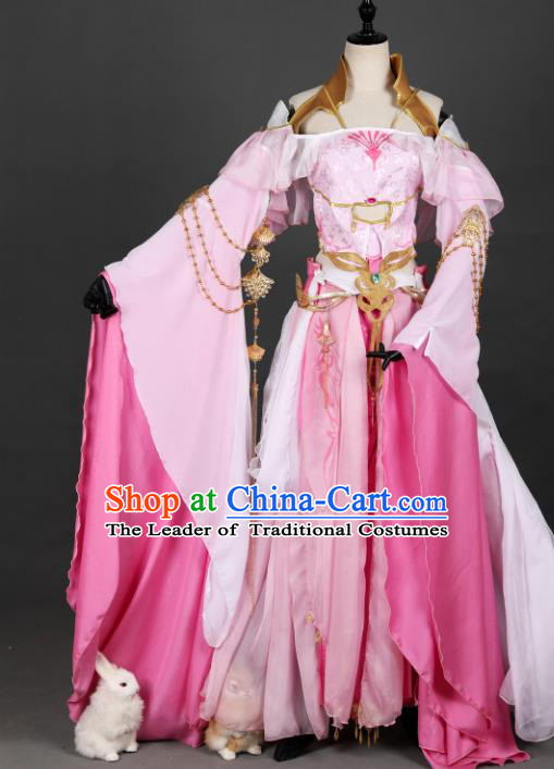 Chinese Ancient Princess Costume Cosplay Fairy Pink Dress Hanfu Clothing for Women