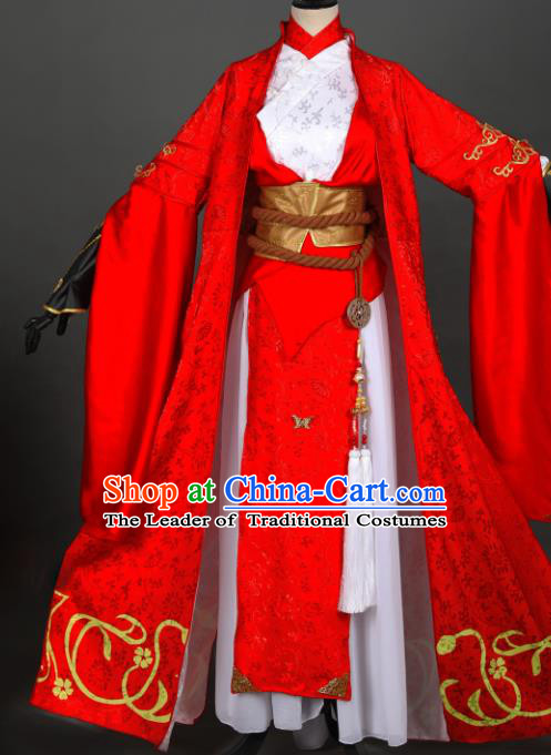 Chinese Ancient Swordswoman Costume Cosplay Female Knight-errant Dress Hanfu Clothing for Women