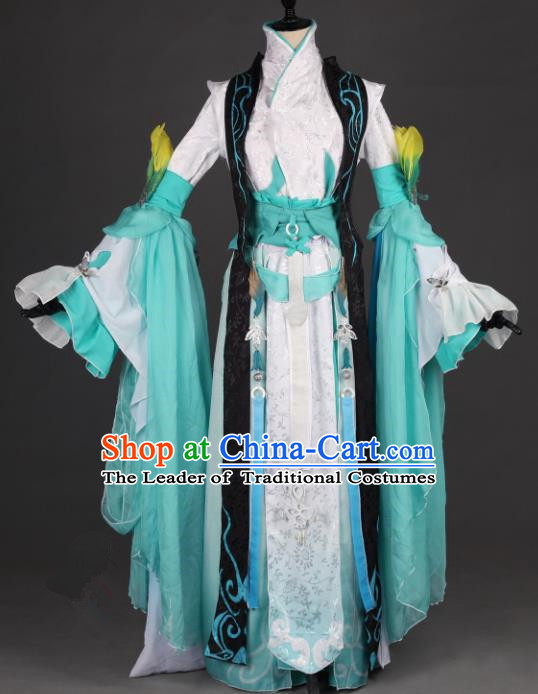 Chinese Ancient Swordswoman Costume Cosplay Female Knight-errant Green Dress Hanfu Clothing for Women