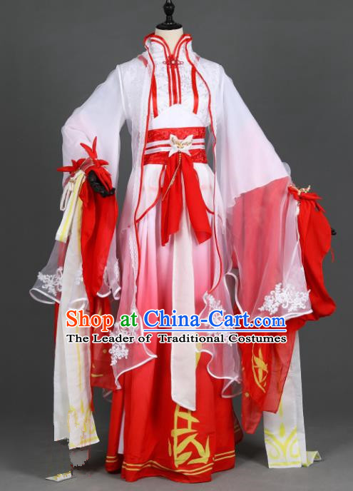 Chinese Ancient Princess Costume Cosplay Female Knight-errant Red Dress Hanfu Clothing for Women