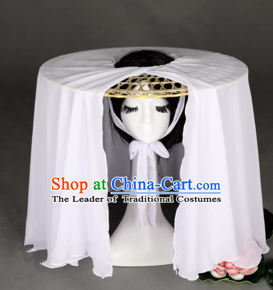 Traditional Handmade Chinese Ancient Swordswoman Hats White Veil Bamboo Hat for Women
