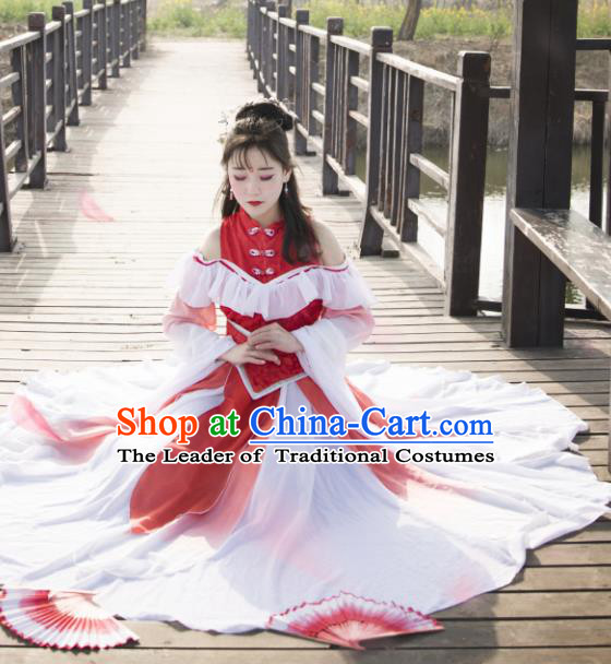 Chinese Ancient Princess Young Lady Costume Cosplay Swordswoman Red Dress Hanfu Clothing for Women