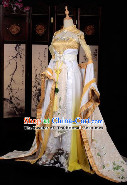 Chinese Ancient Palace Lady Costume Cosplay Princess Swordswoman Golden Dress Hanfu Clothing for Women