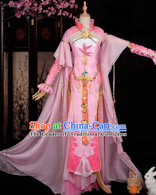 Chinese Ancient Young Lady Swordswoman Costume Cosplay Princess Pink Dress Hanfu Clothing for Women