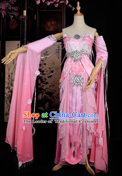Chinese Ancient Swordswoman Costume Cosplay Tang Dynasty Princess Pink Dress Hanfu Clothing for Women