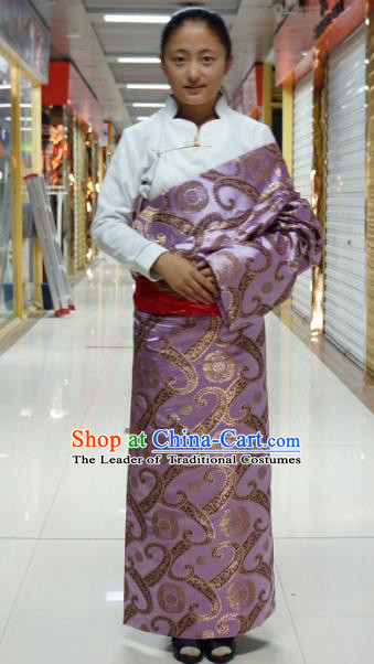 Chinese Traditional Zang Nationality Lilac Brocade Tibetan Robe, China Tibetan Ethnic Heishui Dance Costume for Women