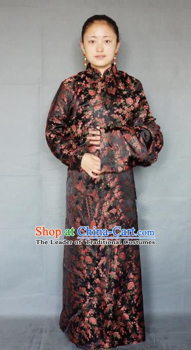 Chinese Traditional Zang Nationality Black Brocade Tibetan Robe, China Tibetan Ethnic Heishui Dance Costume for Women