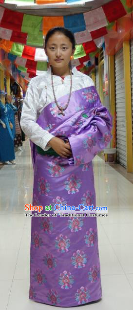Chinese Traditional Zang Nationality Purple Brocade Tibetan Robe, China Tibetan Ethnic Heishui Dance Costume for Women