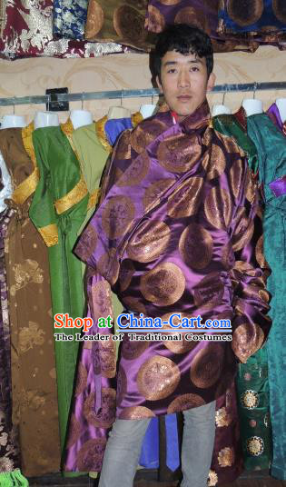 Chinese Traditional Zang Nationality Purple Tibetan Robe, China Tibetan Ethnic Heishui Dance Costume for Men