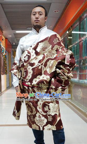 Chinese Traditional Zang Nationality Purplish Red Tibetan Robe, China Tibetan Ethnic Heishui Dance Costume for Men