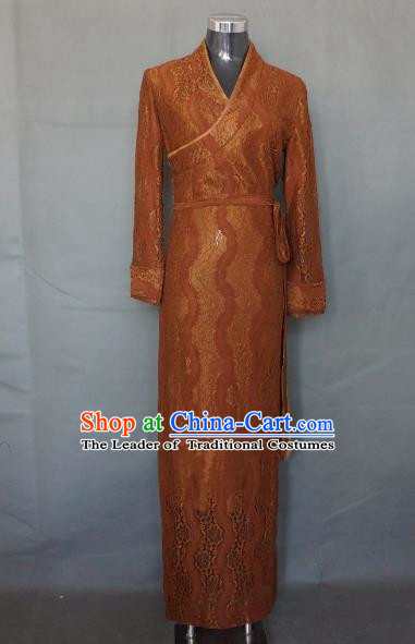 Chinese Traditional Zang Nationality Brown Lace Dress, China Tibetan Ethnic Heishui Dance Costume for Women