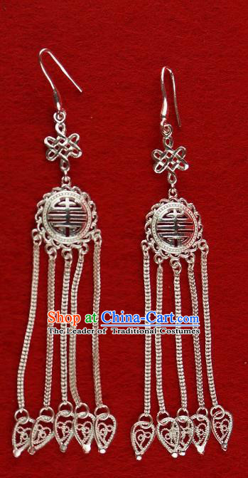 Chinese Traditional Zang Nationality Silver Tassel Earrings Accessories, China Tibetan Ethnic Eardrop for Women