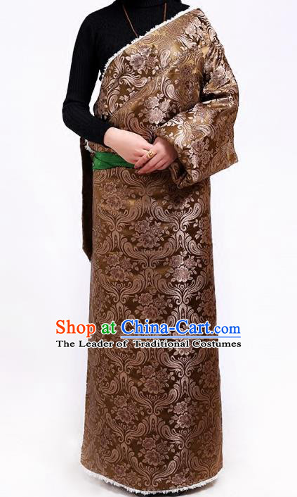 Chinese Zang Nationality Brown Brocade Tibetan Robe, China Traditional Tibetan Ethnic Heishui Dance Costume for Women