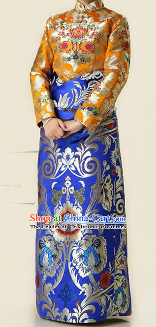 Chinese Traditional Zang Nationality Blue Brocade Robe, China Tibetan Ethnic Heishui Dance Costume for Women