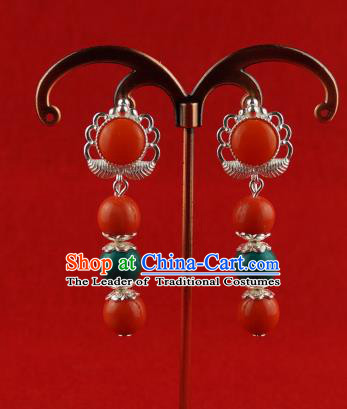 Chinese Traditional Zang Nationality Jewelry Accessories Sliver Earrings, China Tibetan Ethnic Red Beads Eardrop for Women