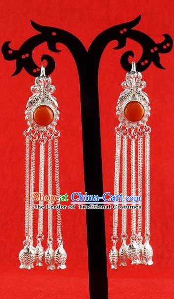 Chinese Traditional Zang Nationality Handmade Sliver Tassel Earrings, China Tibetan Ethnic Eardrop for Women