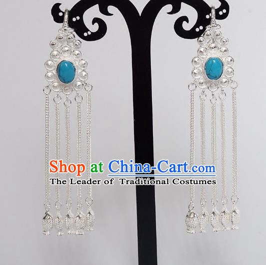 Chinese Traditional Zang Nationality Handmade Sliver Tassel Blue Earrings, China Tibetan Ethnic Eardrop for Women