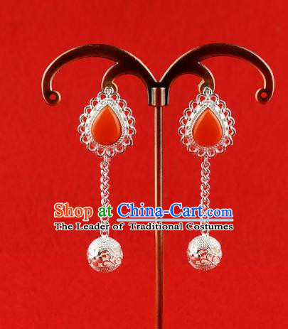 Chinese Traditional Zang Nationality Handmade Sliver Bells Tassel Earrings, China Tibetan Ethnic Eardrop for Women