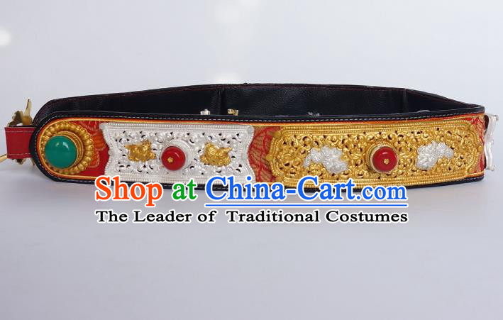 Chinese Traditional Zang Nationality Belts Waist Accessories, China Tibetan Robe Ethnic Waistband for Men