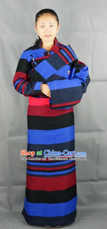 Chinese Zang Nationality Blue Woolen Tibetan Robe, China Traditional Tibetan Ethnic Heishui Dance Costume for Women