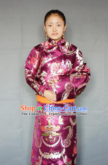 Chinese Zang Nationality Purple Tibetan Robe, China Traditional Tibetan Ethnic Heishui Dance Costume for Women